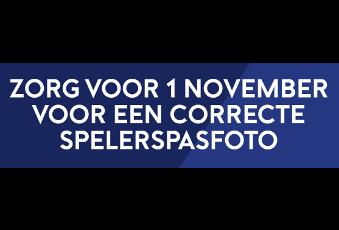 Zorg voor 1 november voor een correcte spelerspasfoto