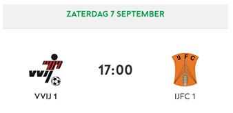 BEKER: VVIJ 1 - IJFC 1  - zaterdag 7 september 17:00