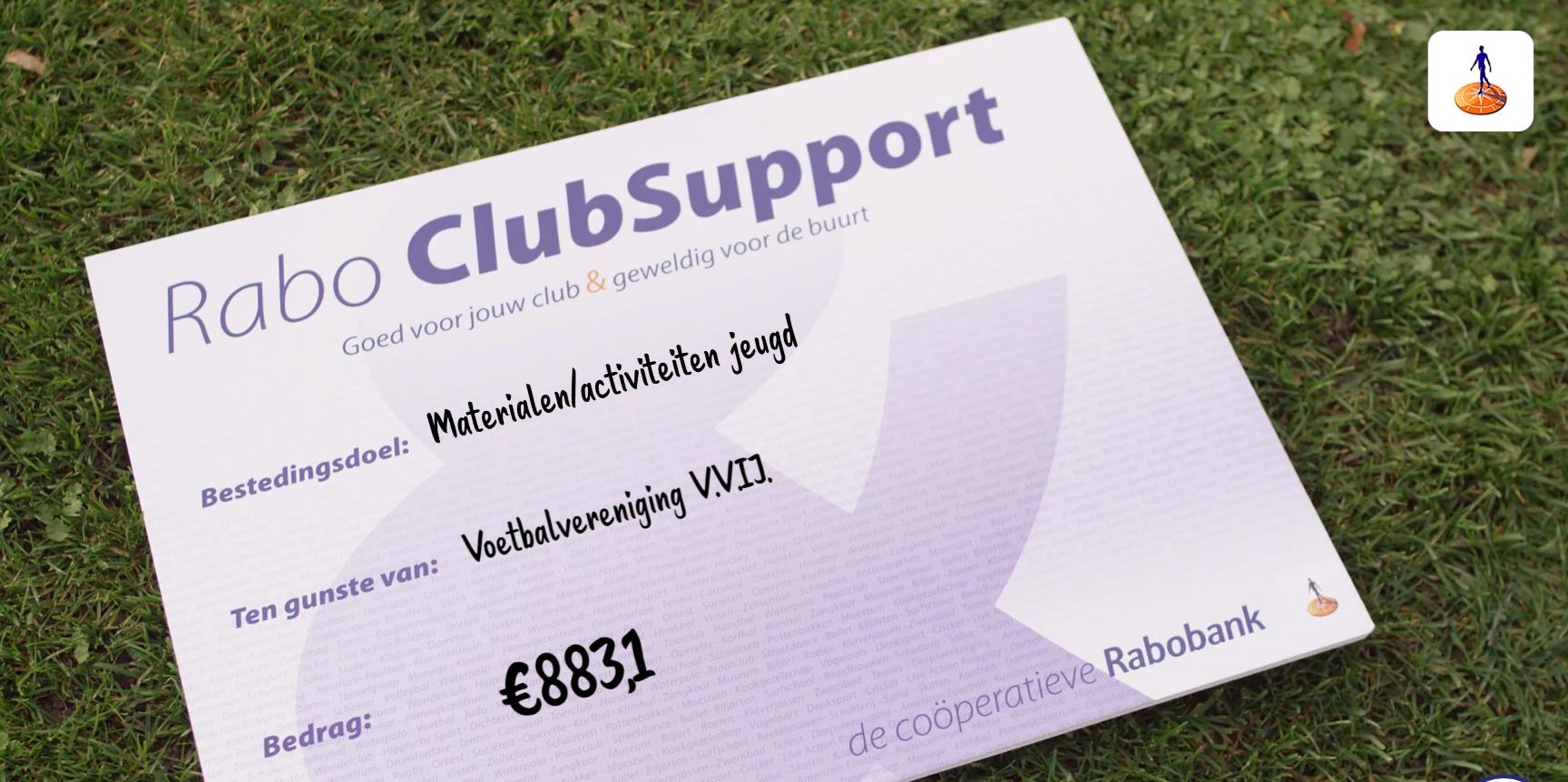 Rabo Clubsupport- VVIJ bedankt alle stemmers!