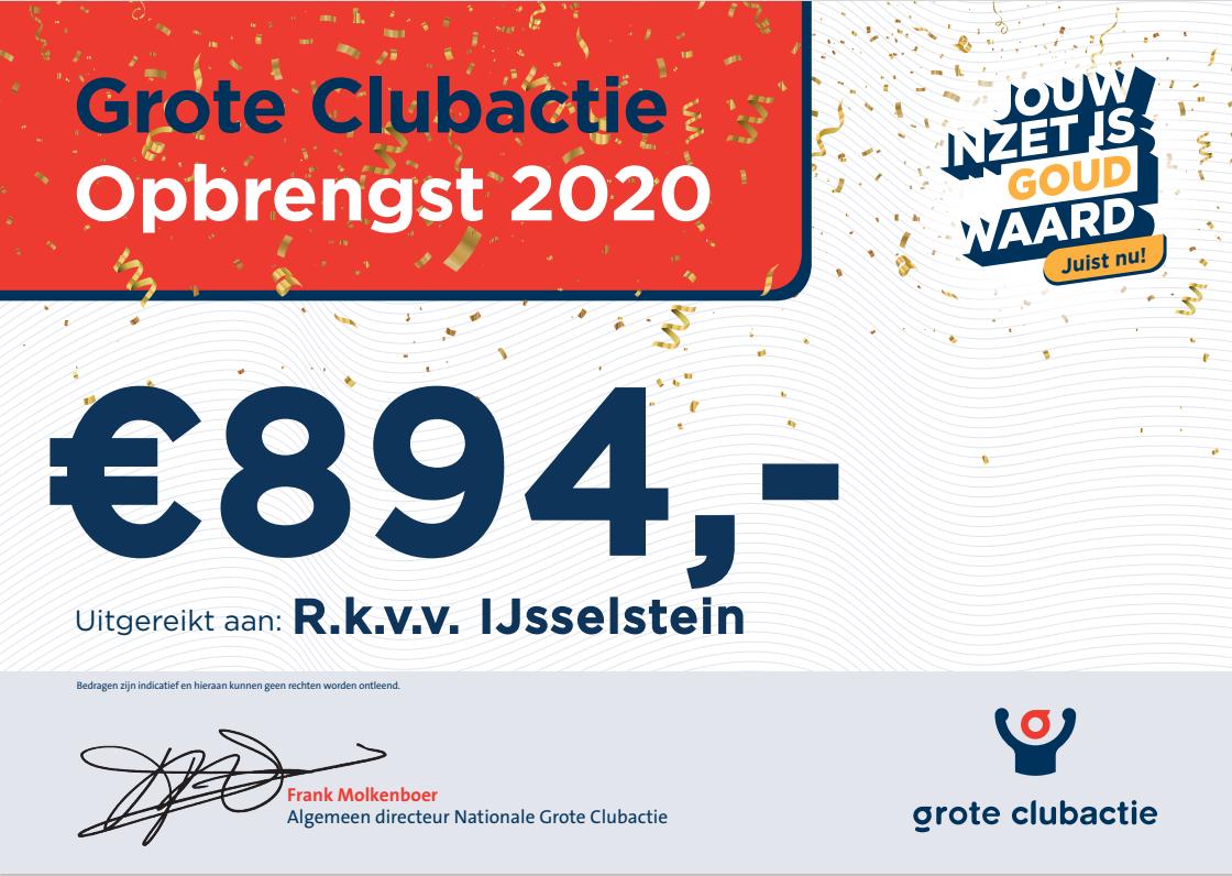 Cheque van de Grote Clubactie 2020