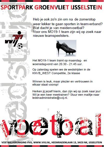 VVIJ MO19-1 zoekt nieuwe teamspeelsters